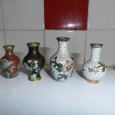 Antigüedades: JARRONES CLOISONNE CHINO BRONCE LATÓN COBRE ESMALTE FLORES. Lote 188575940