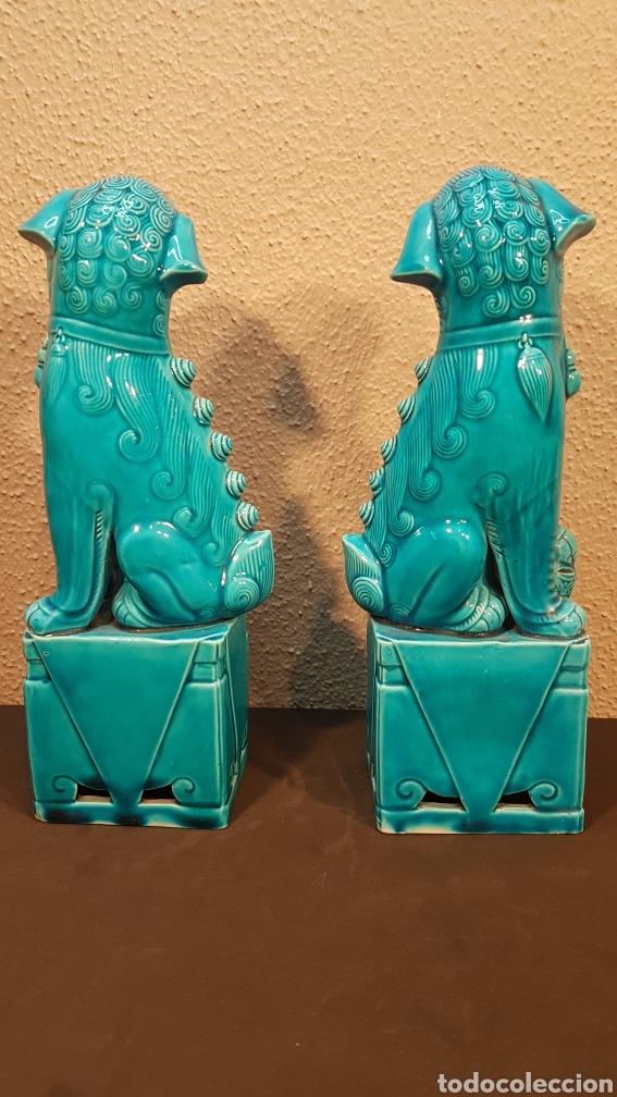 Antigüedades: Pareja leones perros furias Foo Fo cerámica esmaltada China S. XX. En buen estado de conservación. - Foto 4 - 188610083