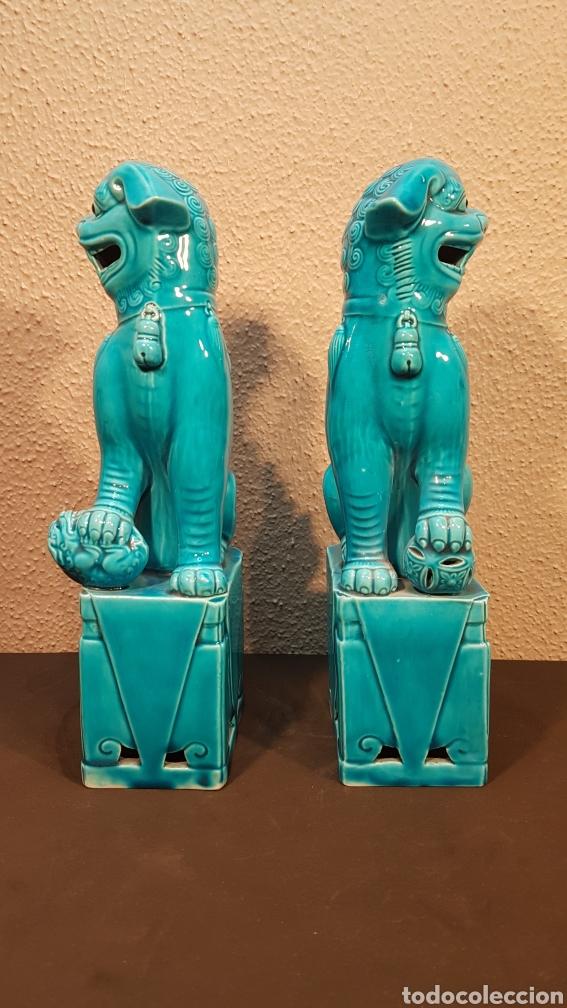 Antigüedades: Pareja leones perros furias Foo Fo cerámica esmaltada China S. XX. En buen estado de conservación. - Foto 5 - 188610083