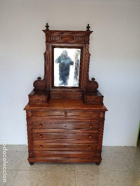 Antigüedades: ANTIGUA COMODA CON ALTILLO ESPEJO - Foto 4 - 188418043