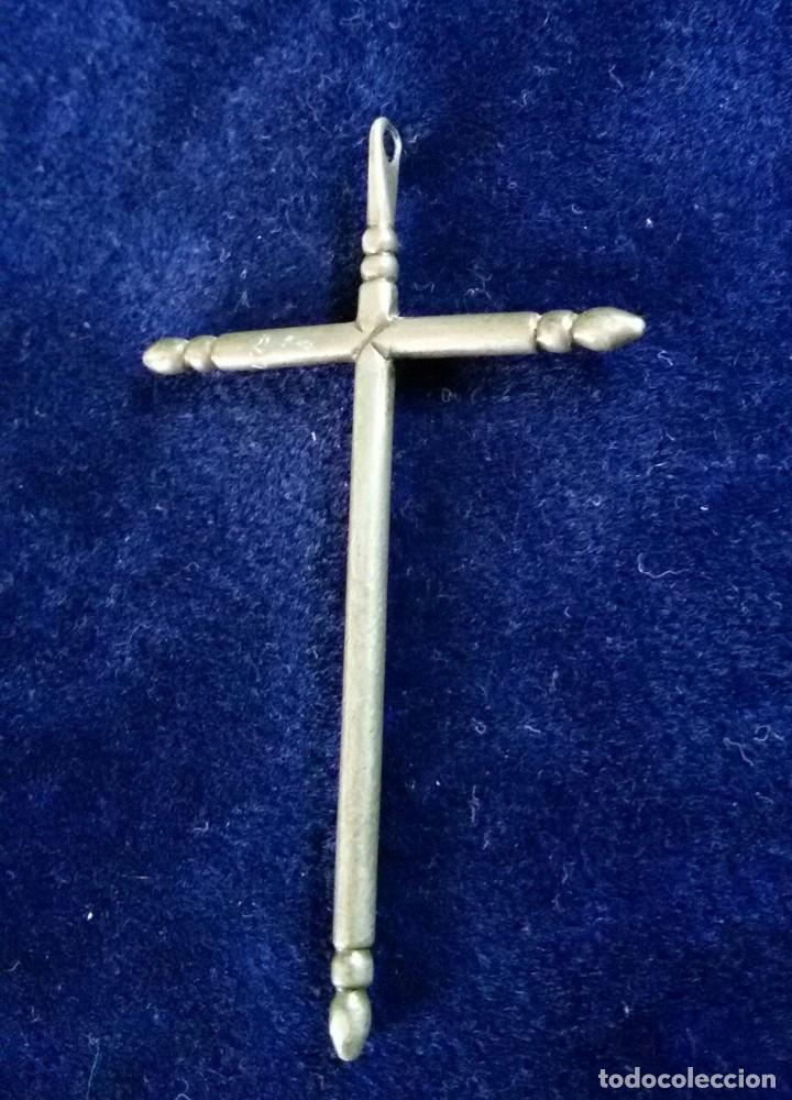 Antigüedades: antigua cruz en plata o plateada S-XVIII Crucifijo pezuelado - Foto 4 - 188638301