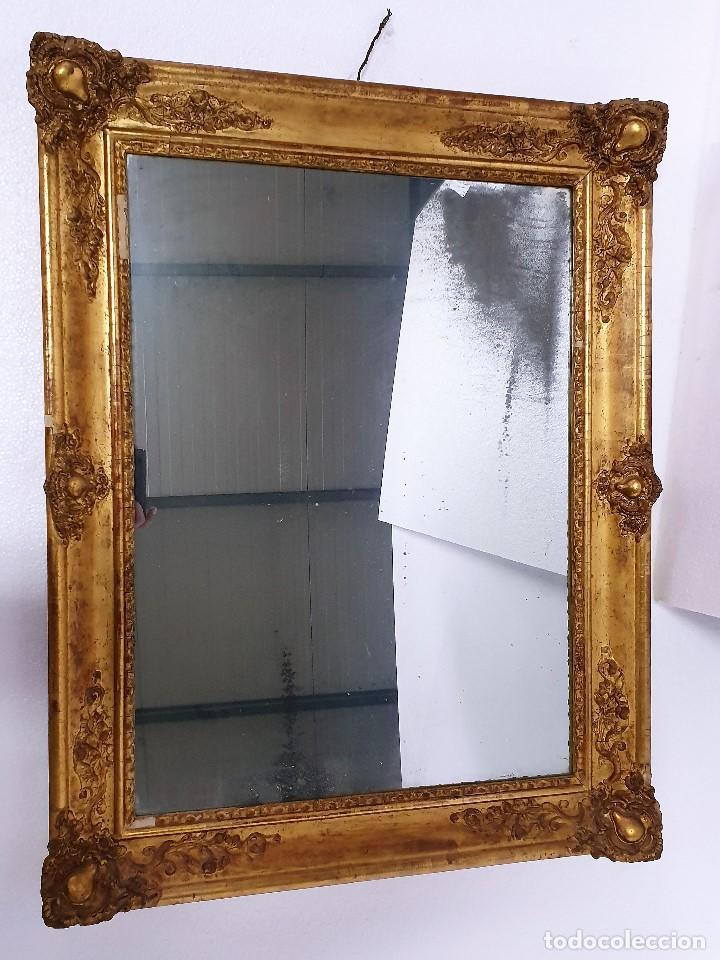 Antigüedades: ANTIGUO ESPEJO DE MADERA Y PAN DE ORO - Foto 2 - 188682731