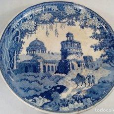 Antigüedades: ROGERS (STAFFORDSHIRE, 1784 – 1842). FUENTE CON PIE EN UNA PIEZA. LOZA INGLESA. MARCA INCISA.. Lote 188744237