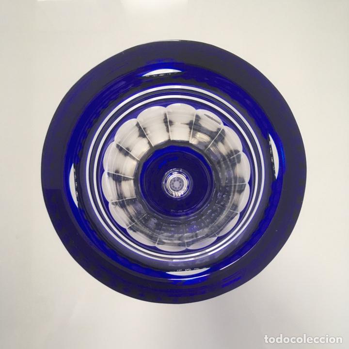 Antigüedades: Jarrón de cristal azul y plata de ley - Foto 3 - 188793261
