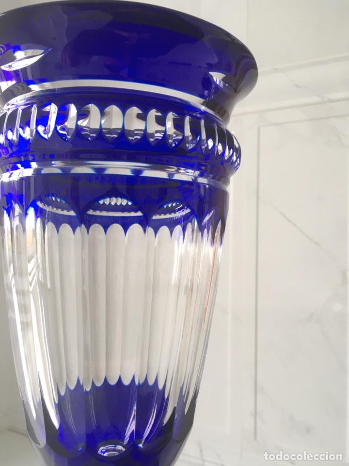 Antigüedades: Jarrón de cristal azul y plata de ley - Foto 5 - 188793261