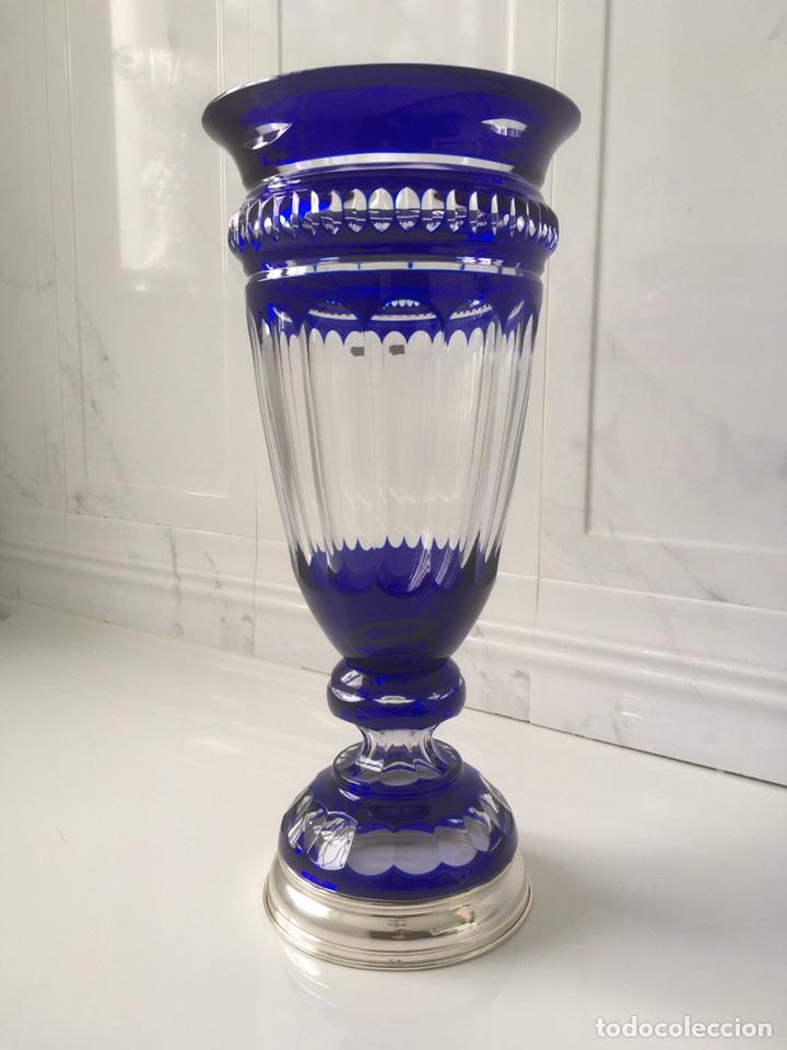 Antigüedades: Jarrón de cristal azul y plata de ley - Foto 2 - 188793261