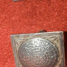 Antigüedades: ANTIGUOS GEMELOS DE PLATA CALENDARIO MAYA. Lote 188802448