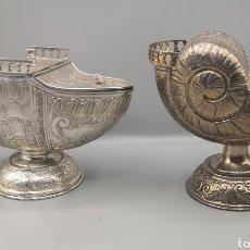Antigüedades: RECIPIENTES DE PLATA REPUJADA SIGLO XIX. Lote 188806213