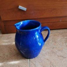 Antigüedades: ANTIGUA JARRA DE CERÁMICA ESMALTADA AZUL. Lote 189074442