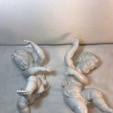 Oggetti Antichi: PAREJA FIGURAS PORCELANA- ALGORA- ANGELES PARED. Lote 189077865