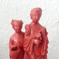 Antigüedades: FIGURA CHINA DE RESINA CON PEANA. Lote 189095610