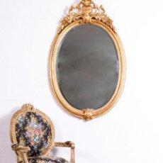 Antigüedades: ESPEJO ANTIGUO DE MADERA Y PAN DE ORO. Lote 189097388