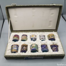 Antigüedades: DIEZ TARRITOS CLOISONE PARA ESPECIES CON TAPA CHINA. Lote 189117033