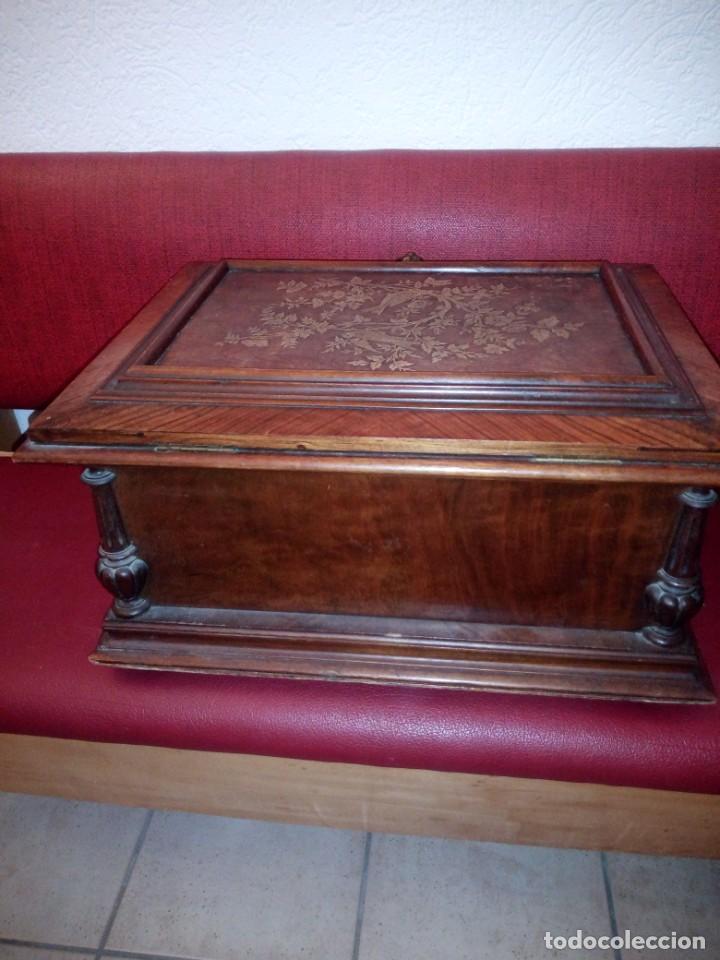 Antigüedades: Antiguo baúl cofre de despacho de madera de roble de raíz con incrustaciones y adornos de bronce. - Foto 19 - 189143608