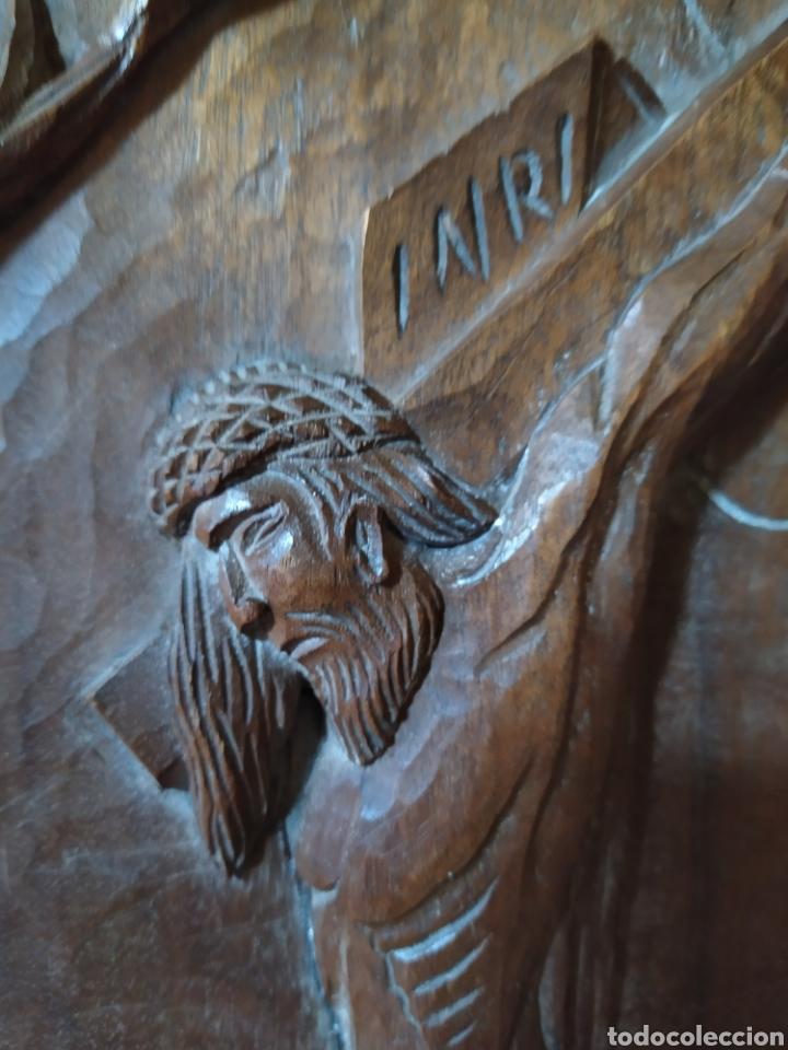 Antigüedades: Talla madera cristo en la cruz - Foto 5 - 189209000