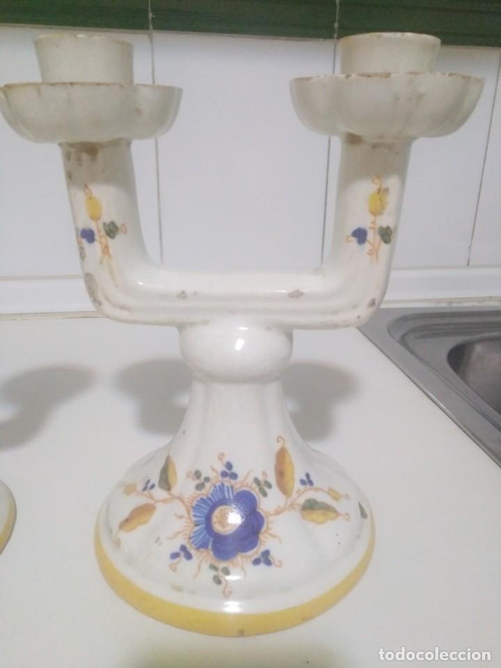 Antigüedades: Alcora , pareja de candelabros, Siglo XVIII perfectos - Foto 2 - 189241148