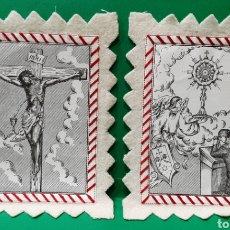 Antigüedades: ESCAPULARIO DE TELA BORDADA. MIDE 14 X 11 CM.. Lote 189257065