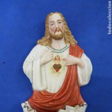 Antigüedades: BENDITERA BISCUIT,SAGRADO CORAZÓN DE JESÚS, PRINCIPIO DE 1900. Lote 189259858