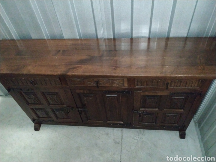 Antigüedades: Arca aparador madera roble artesanal hecho a mano - Foto 4 - 189305017