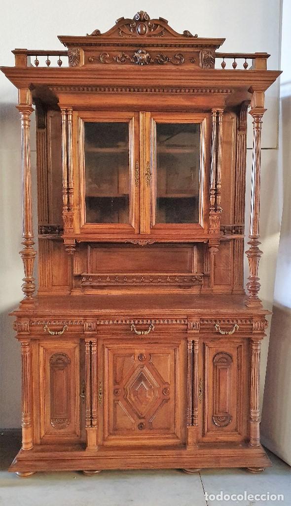 ANTIGUA VITRINA TRINCHERO TALLADA (Antigüedades - Muebles Antiguos - Vitrinas Antiguos)