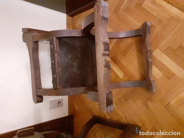 Antigüedades: PAREJA JAMUGAS, SILLONES MADERA Y CUERO - Foto 5 - 189330802