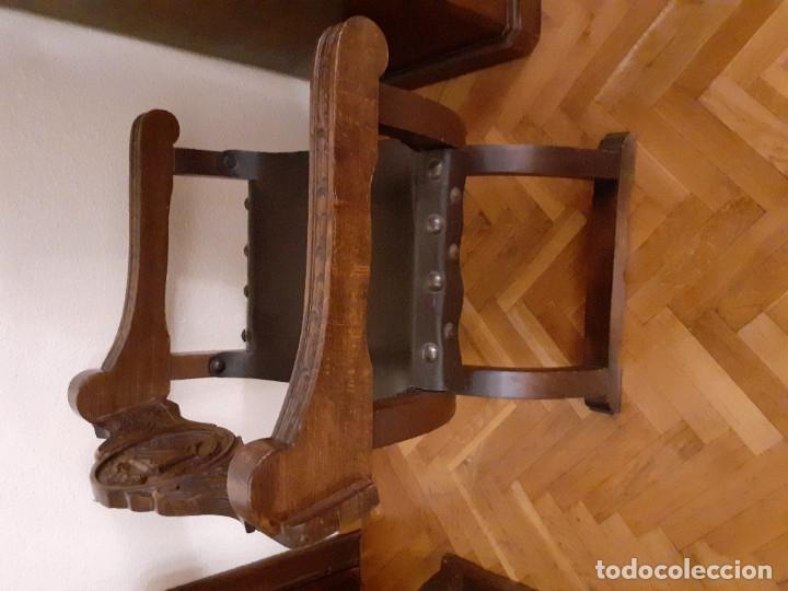 Antigüedades: PAREJA JAMUGAS, SILLONES MADERA Y CUERO - Foto 6 - 189330802