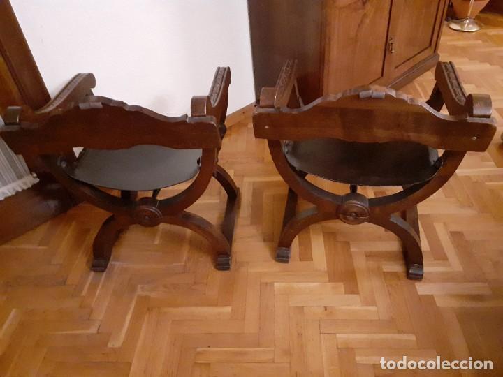 Antigüedades: PAREJA JAMUGAS, SILLONES MADERA Y CUERO - Foto 8 - 189330802