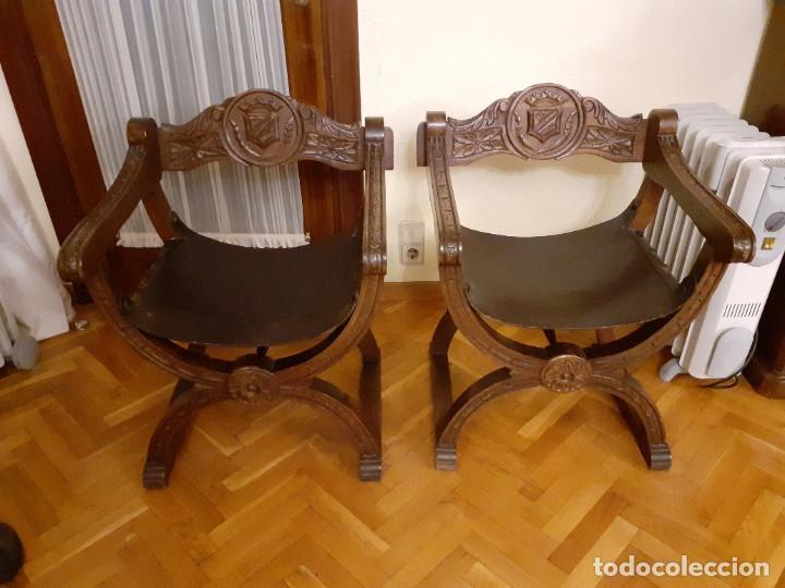 PAREJA JAMUGAS, SILLONES MADERA Y CUERO (Antigüedades - Muebles Antiguos - Sillones Antiguos)