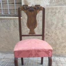 Antigüedades: ANTIGUA SILLA DE ESTILO SEÑORIAL DE MADERA CON ASIENTO TAPIZADO. Lote 189358070