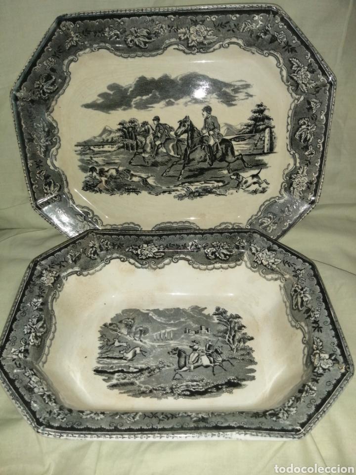 Antigüedades: Fuente y Azafate de cerámica de Cartagena fábrica de la Amistad con marcas sana completamente - Foto 2 - 189376358