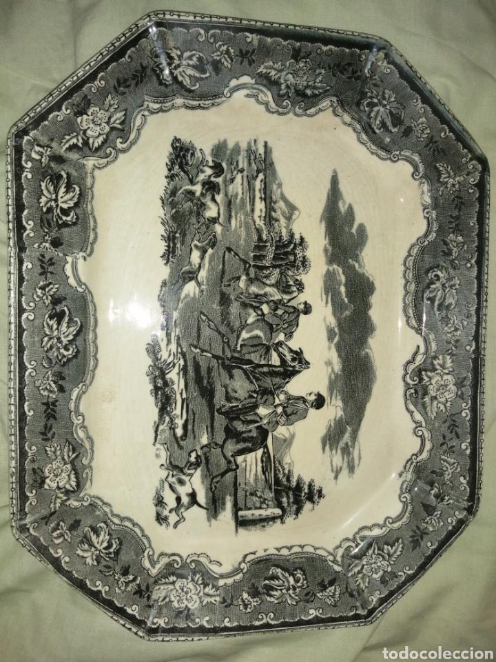 Antigüedades: Fuente y Azafate de cerámica de Cartagena fábrica de la Amistad con marcas sana completamente - Foto 3 - 189376358