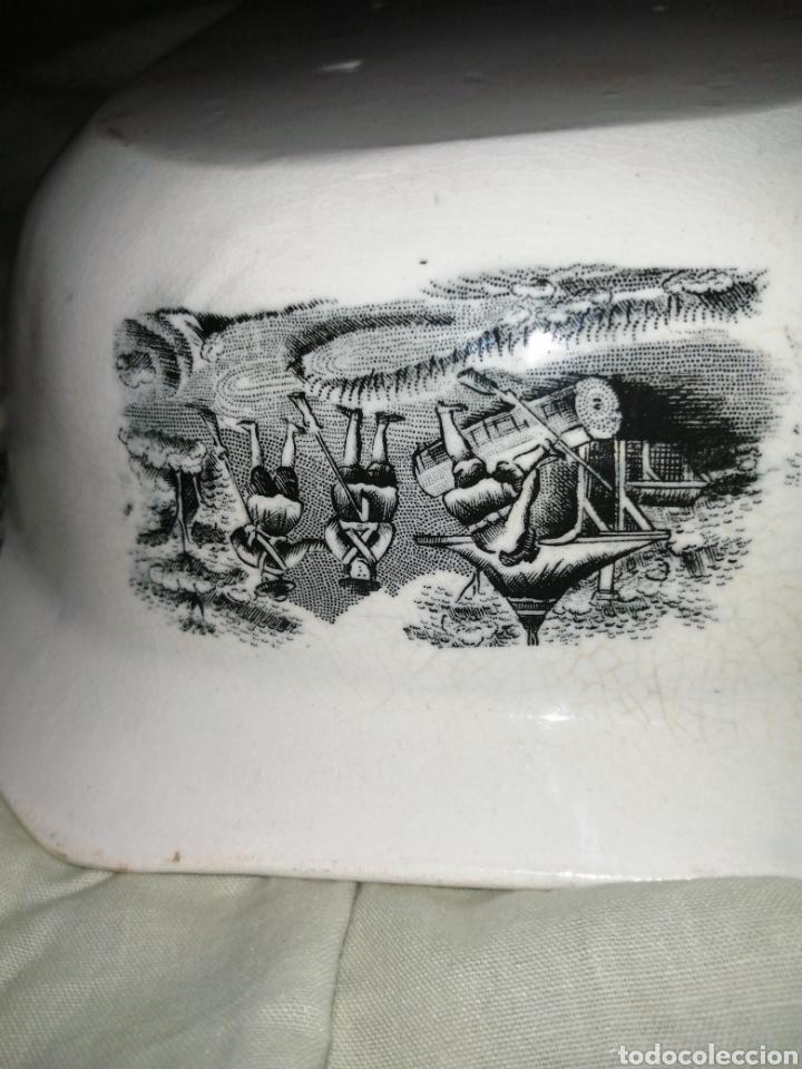 Antigüedades: Fuente y Azafate de cerámica de Cartagena fábrica de la Amistad con marcas sana completamente - Foto 7 - 189376358