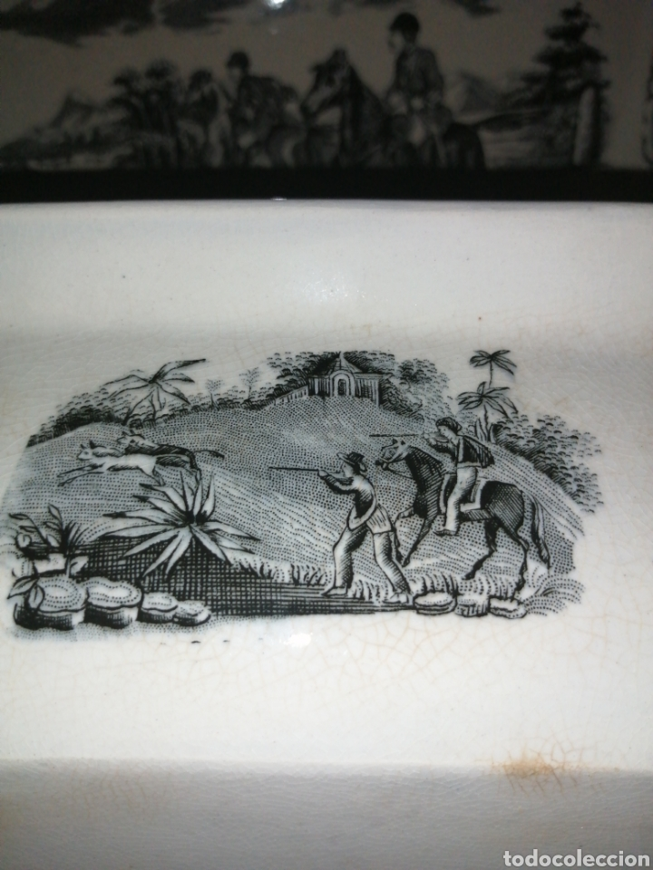 Antigüedades: Fuente y Azafate de cerámica de Cartagena fábrica de la Amistad con marcas sana completamente - Foto 8 - 189376358
