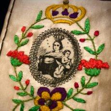 Antigüedades: ANTIGUO ESCAPULARIO DE LA VIRGEN DEL CARMEN. BORDADO EN HILOS DE SEDA. S.XIX. Lote 189382027