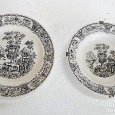 Antigüedades: ANTIGUA PAREJA DE PLATOS DE PORCELANA 24 CM. Lote 189386136