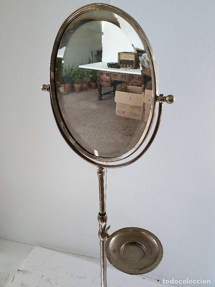 Antigüedades: ESPEJO TOCADOR DE METAL - Foto 2 - 189386405