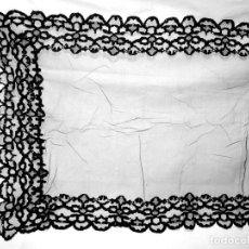 Antigüedades: VELO, MANTILLA O TOQUILLA RECTANGULAR. TUL BORDADO-CHANTILLY-ENCAJE. SIGLO.XIX - XX. 142 X 57 CMS. Lote 189447132
