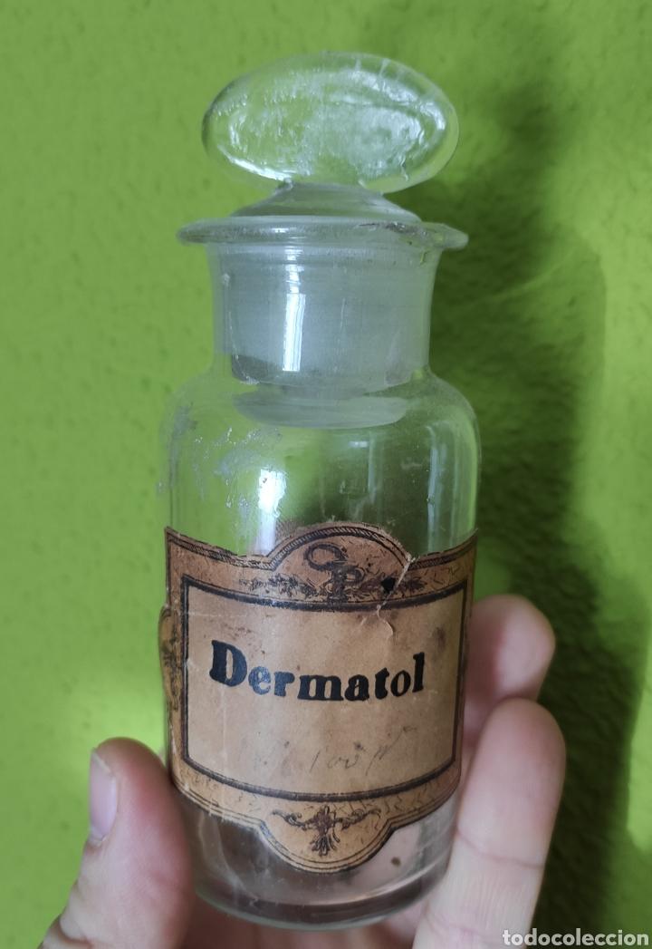 ANTIGUO BOTE FRASCO FARMACIA DERMATOL (Antigüedades - Cristal y Vidrio - Farmacia )