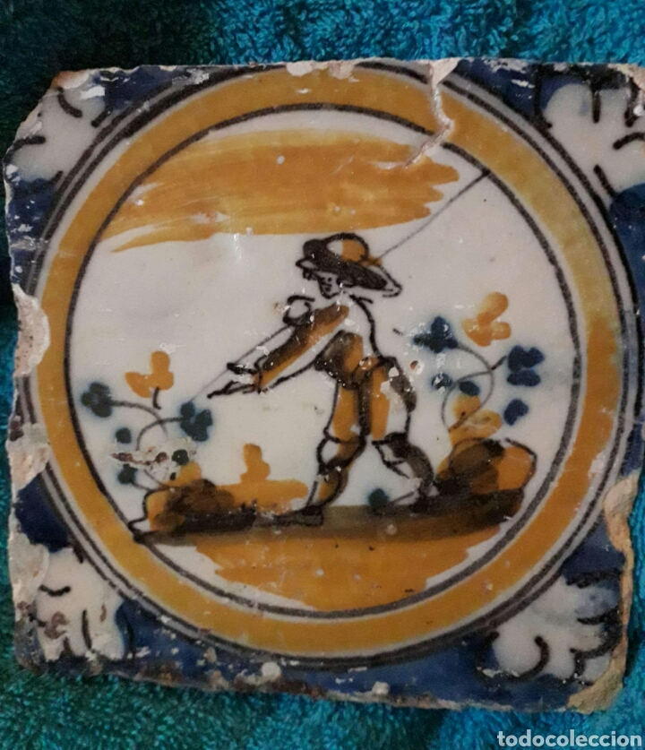 PRECIOSO AZULEJO DE TRIANA SIGLO XVIII. SERIE POLICROMA. (Antigüedades - Porcelanas y Cerámicas - Triana)