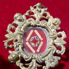 Antigüedades: RELICARIO BRONCE S XVIII - RELIQUIA SAN ANTONIO , SAN JOSÉ. Lote 189517865