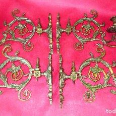 Antigüedades: MUY RARO LOTE DE 4 CANDELABROS LAMPARAS DE PARED S. XVIII-XIX BRONCE CAPILLAS ALTAR IGLESIA . Lote 189530622