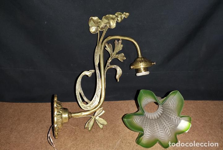Antigüedades: MAGNIFICO APLIQUE, LUZ, LAMPARA MODERNISTA, C.1900 - Foto 3 - 189539785