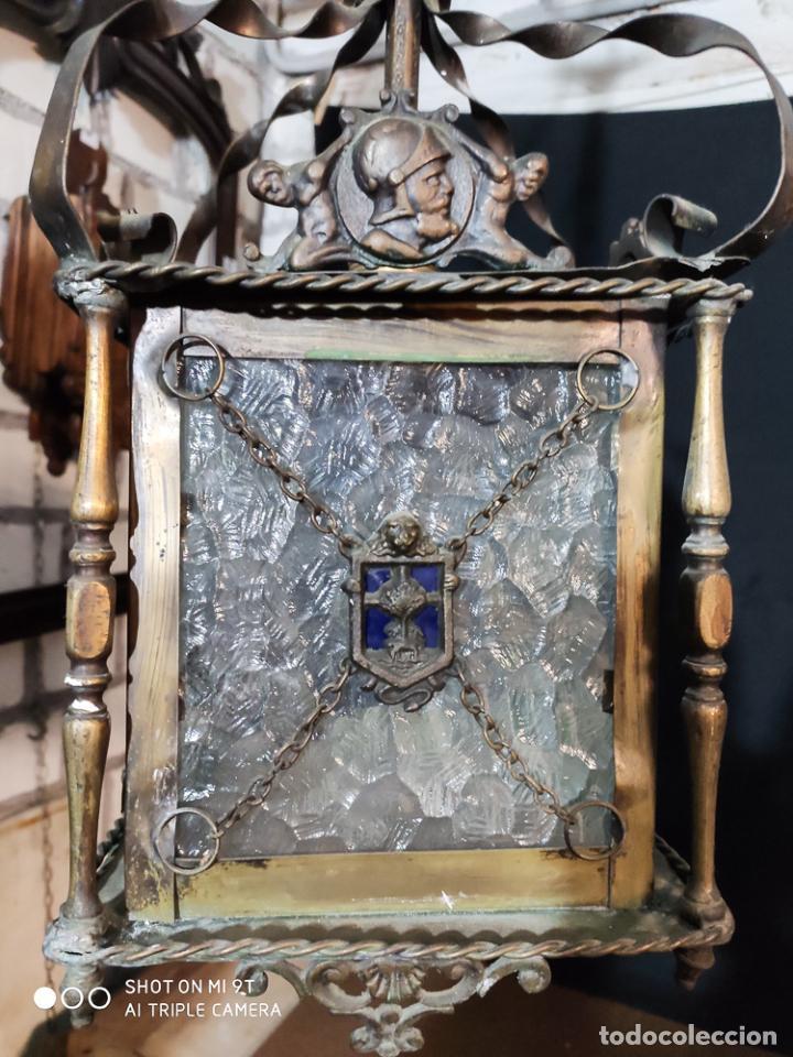 Antigüedades: MAGNIFICO FAROL, LAMPARA, DE BRONCE Y VIDRIO TRABAJADO, C.1920 - Foto 4 - 189543556