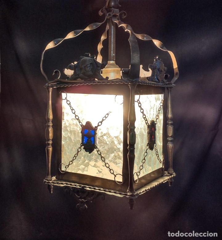 MAGNIFICO FAROL, LAMPARA, DE BRONCE Y VIDRIO TRABAJADO, C.1920 (Antigüedades - Iluminación - Faroles Antiguos)