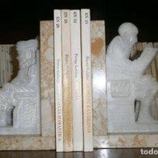 Antigüedades: ANTIGUO JUEGO SUJETALIBROS DE FIGURAS ALABASTRO - QUIJOTE Y SANCHO PANZA. Lote 115377695