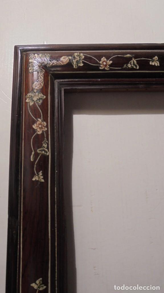 Antigüedades: ANTIGUO MARCO COLONIAL FINALES DE S. XVIII PRINCIPIO XIX MADERA DE JACARANDA Y MARQUETERIA DE MARFIL - Foto 3 - 189579636