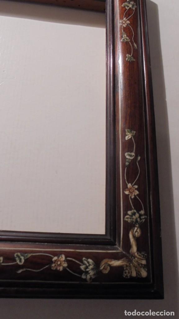 Antigüedades: ANTIGUO MARCO COLONIAL FINALES DE S. XVIII PRINCIPIO XIX MADERA DE JACARANDA Y MARQUETERIA DE MARFIL - Foto 5 - 189579636