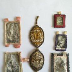 Antigüedades: SEIS RELICARIOS S. XIX EN TELA , UNO BORDADO HILO DE ORO Y PLATA , MED. 10 X 7 CMS.. Lote 189583088
