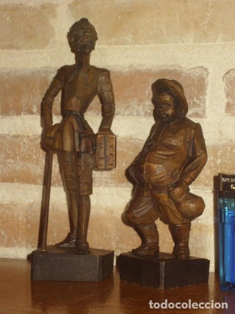 Antigüedades: ESTUPENDA TALLA DE MADERA DE DON QUIJOTE Y SANCHO PANZA.ARTESANIA OURO. - Foto 3 - 189584275