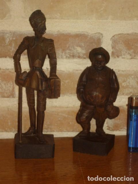 Antigüedades: ESTUPENDA TALLA DE MADERA DE DON QUIJOTE Y SANCHO PANZA.ARTESANIA OURO. - Foto 4 - 189584275